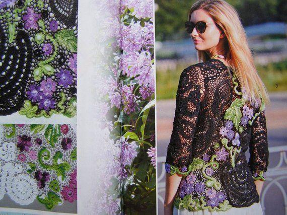 Zhurnal Mod # 609 Crochet patterns for Dress, jackets, Irish lace dress, Sweater #irishlacecrochetpattern