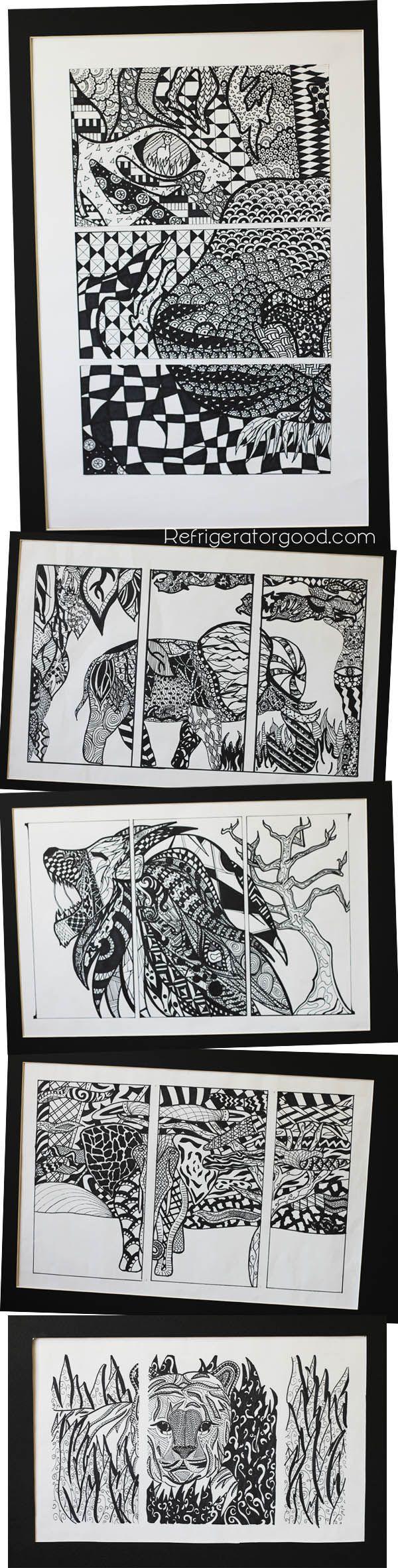 High School Art Lesson Zentangle Triptychs Art Ii Class