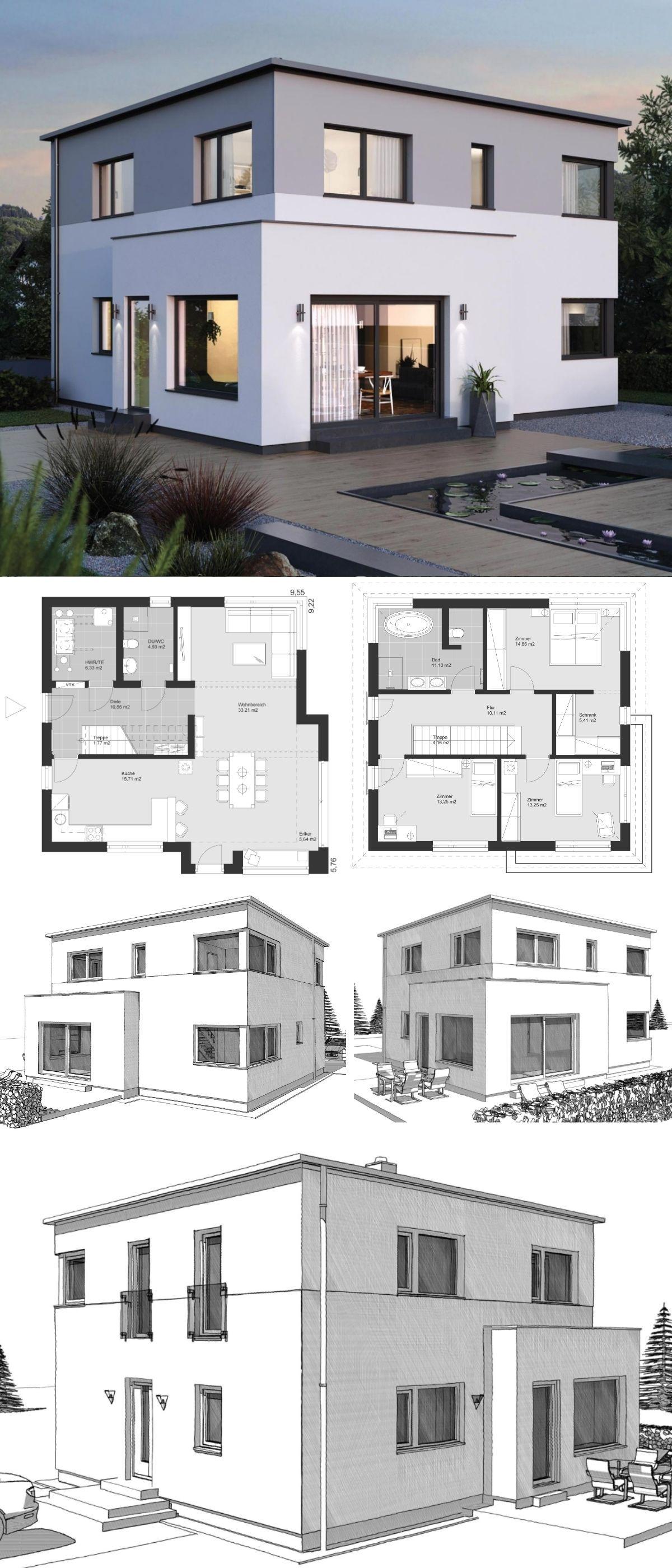 Home treppen design-ideen stadtvilla modern im bauhausstil grundriss mit flachdach architektur