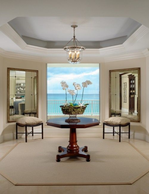 Rug Shape Matches Tray Ceiling Love The Matching Mirrors Foyer