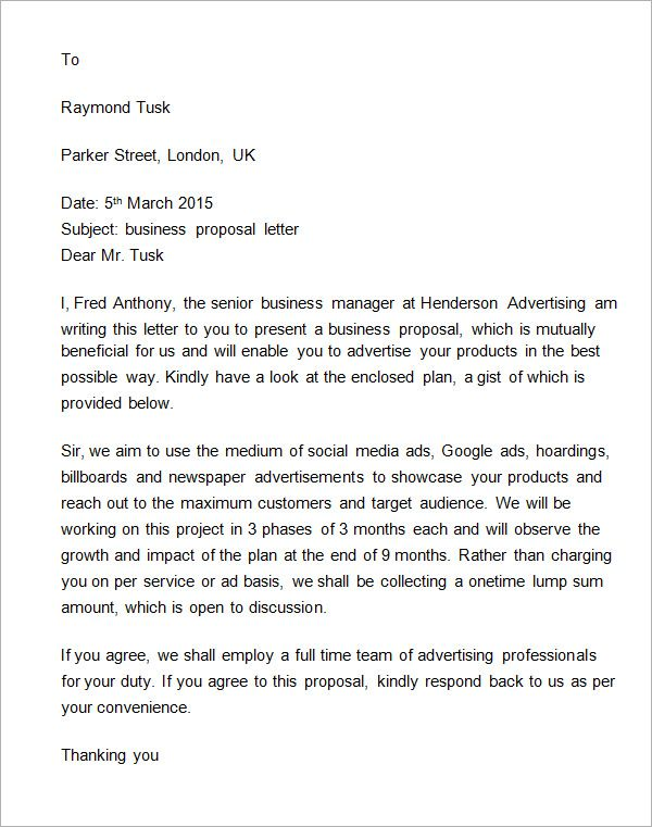 Business Proposal Letter To Client Proposal Letter