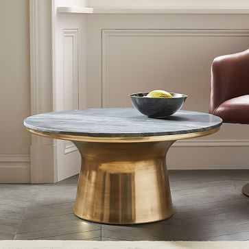 Marble Topped Pedestal Coffee Table Gray Antique Br Westelm I Love It And One In Convo Area Tv Would Be Great