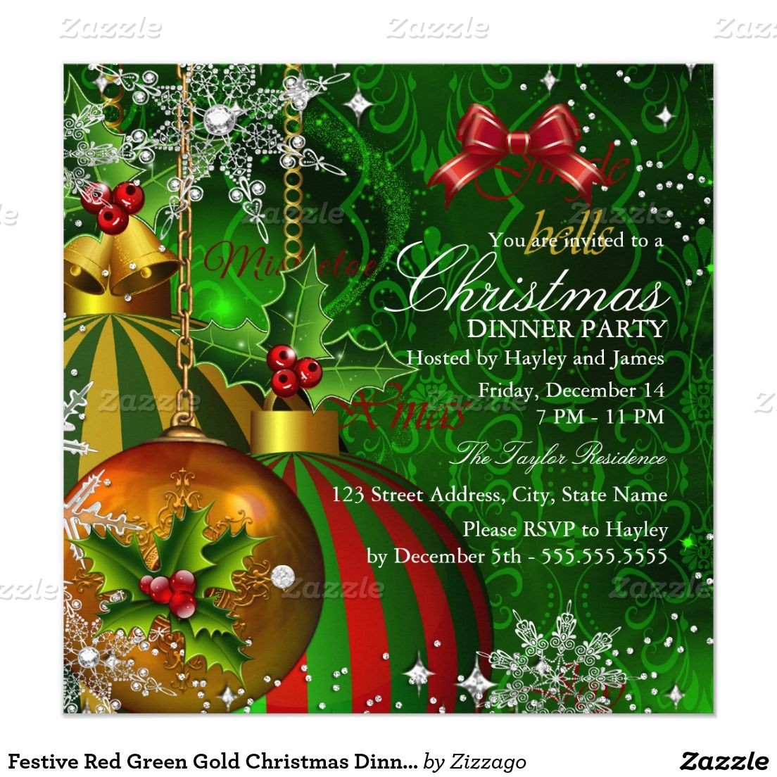 Festive Red Green Gold Christmas Dinner Party Card | Gold christmas ...