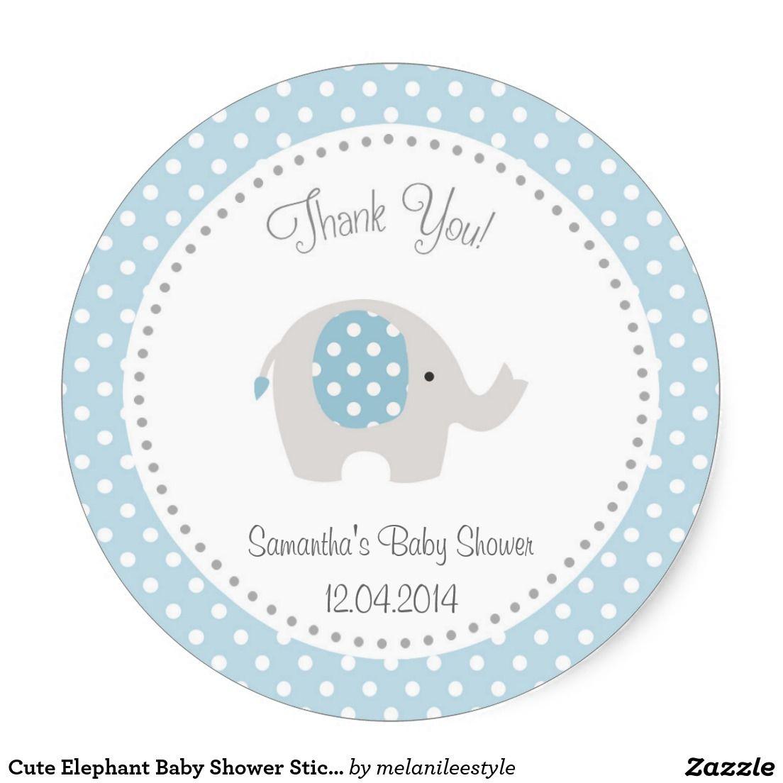Baby Shower Elephant Stickers ~ Cute elephant baby shower sticker blue