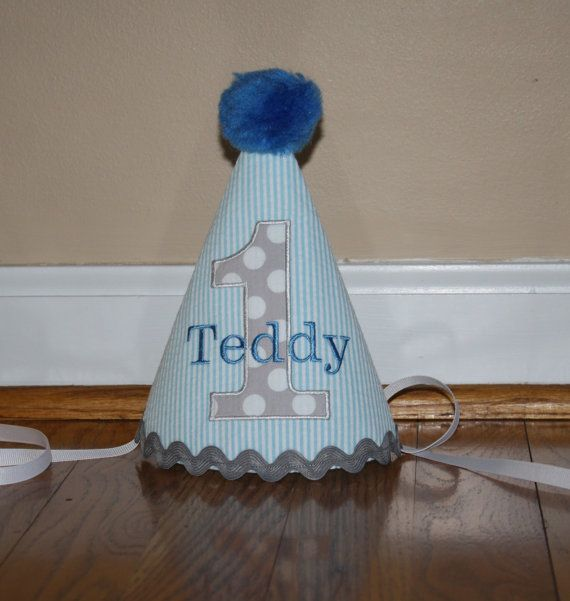 Blue Gray Boys First Birthday Hat 1st By BlakeandBailey
