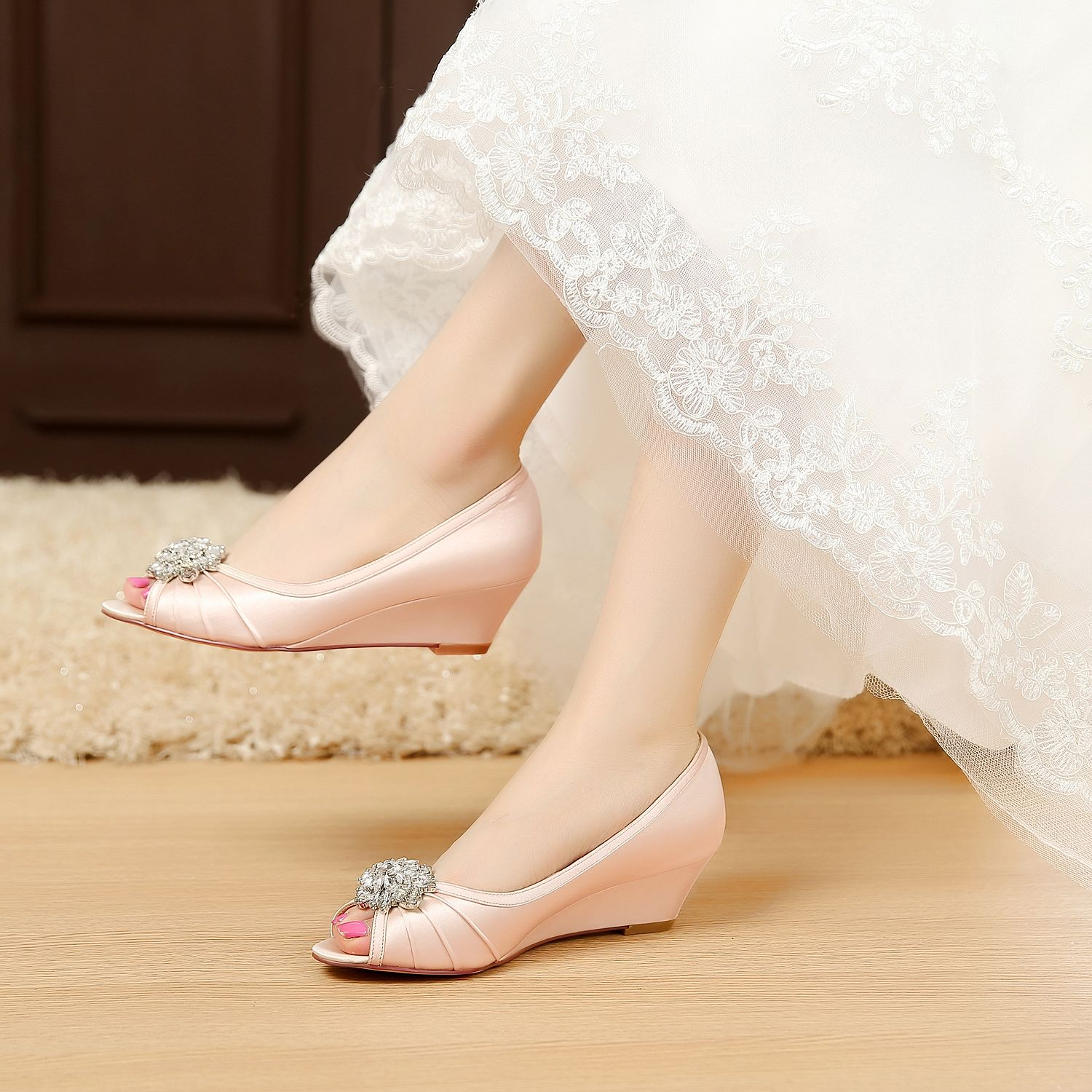 satin wedding shoes bridal shoes Comfortable wedge shoes Unique ...