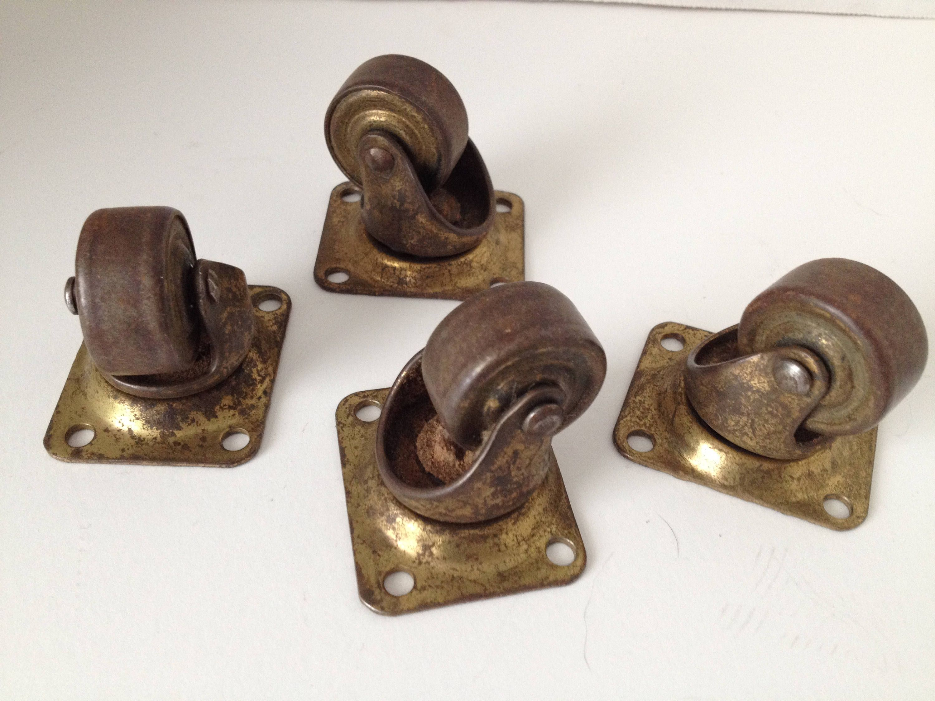 Rotating Plate Caster Wheels Lot Of 4 Industrial 1 Inch Metal Wheel Vintage Furniture Hardware By Arou Vintage Hardware Architectural Pieces Furniture Hardware