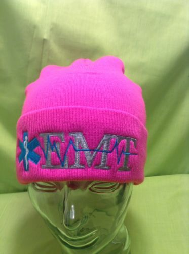 NEW Embroidered EMT EMS Star Of Life Magenta Neon Pink Stocking Winter Cap  Hat d9f250a94fb