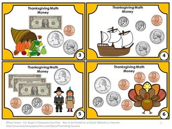 free thanksgiving math activities counting money task card 2nd grade math center math for. Black Bedroom Furniture Sets. Home Design Ideas