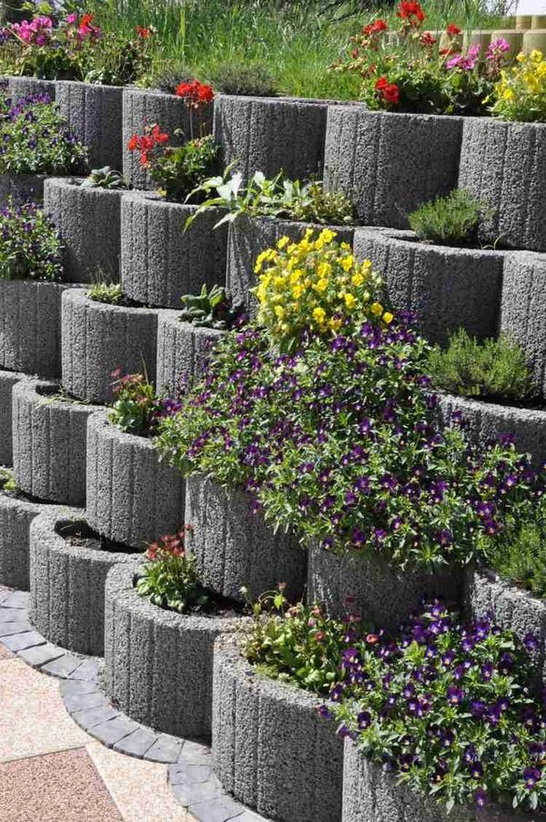 Garden Block Wall Ideas cinder block retaining wall with the installation Retaining Wall Ideas Cinder Block Retaining Wall Concrete Planter Boxes Garden Wall Ideas