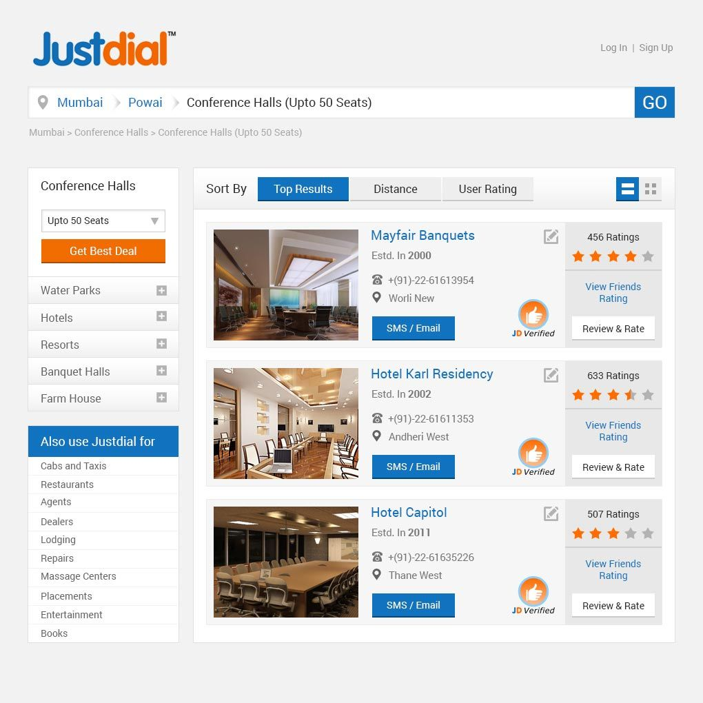 Justdial detailed HiFi Mockup (concept design
