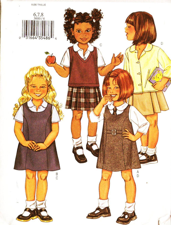Butterick 3600 girls school uniform tops vest skirts and jumper butterick 3600 girls school uniform tops vest skirts and jumper dress sewing pattern 6 8 jeuxipadfo Images