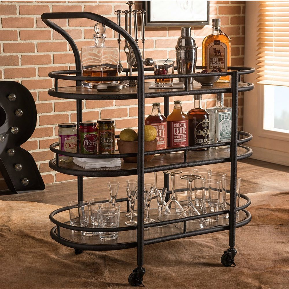 Baxton Studio Karlin Rustic Mobile Kitchen Bar Wine Serving Cart With Textured Antique Black Metal Distressed Wood