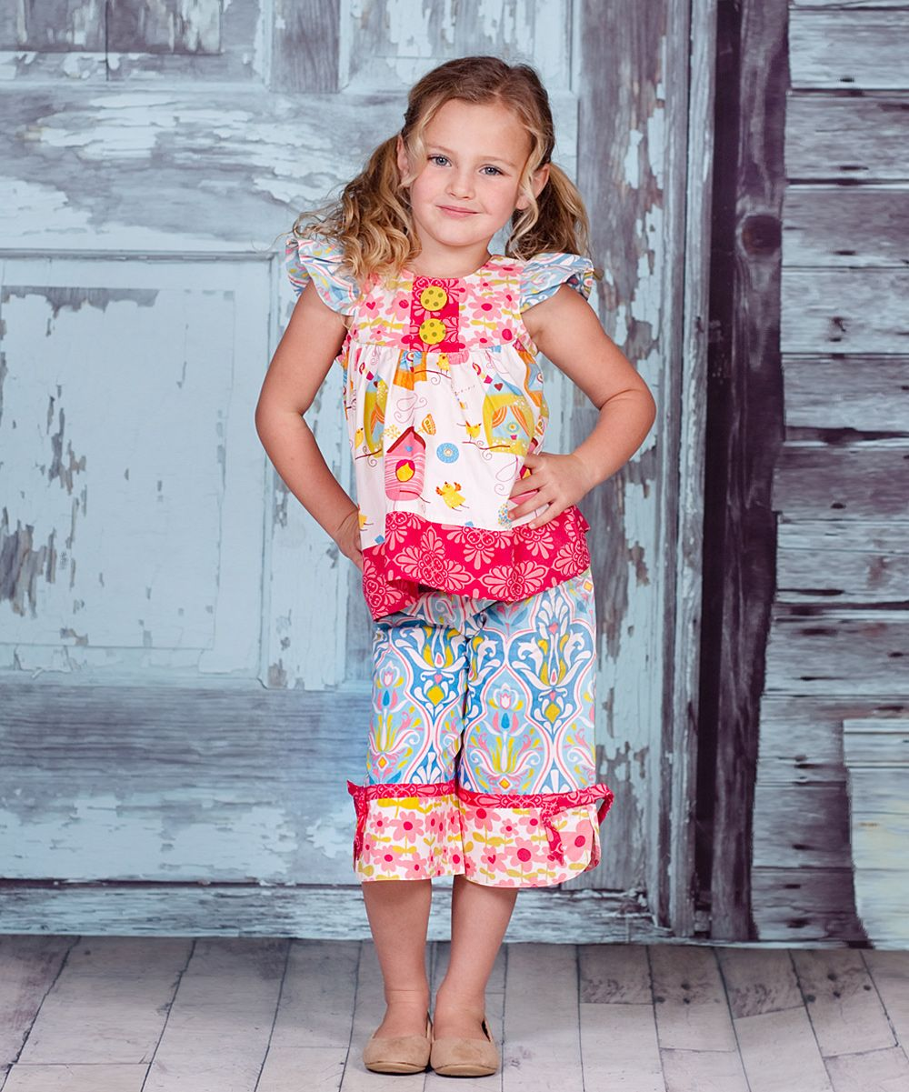 Teal & Magenta Iris Kayla Tunic & Pants - Infant, Toddler & Girls | Daily deals for moms, babies and kids