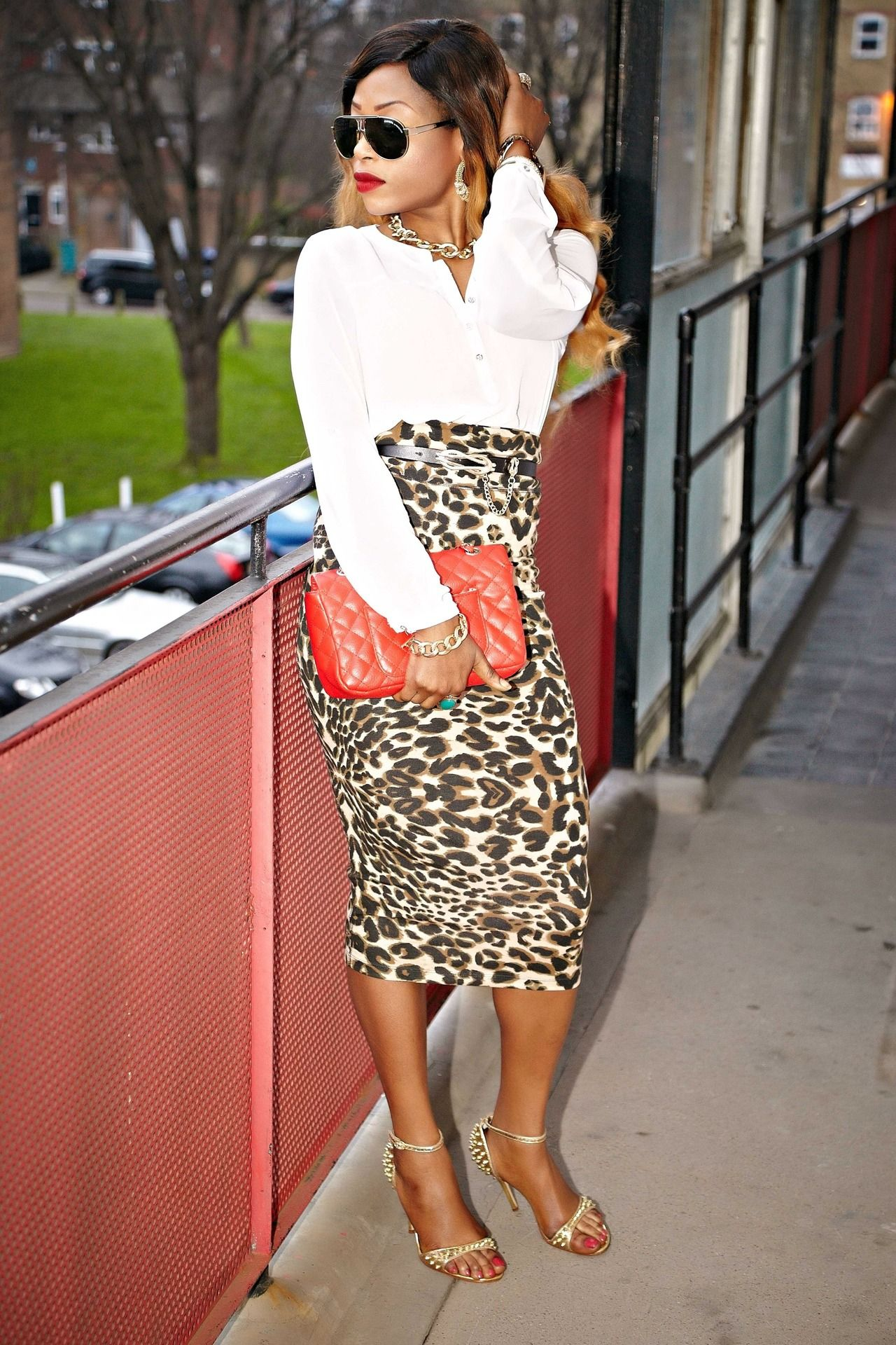 3b50419687 White button down + leopard print pencil skirt + red quilted clutch, heels  and shades = CLASSIC