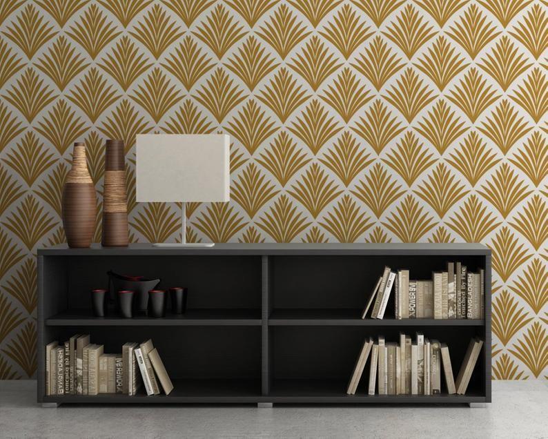 Leaves Wallpaper Art Deco Removable Wallpaper Reusable Etsy