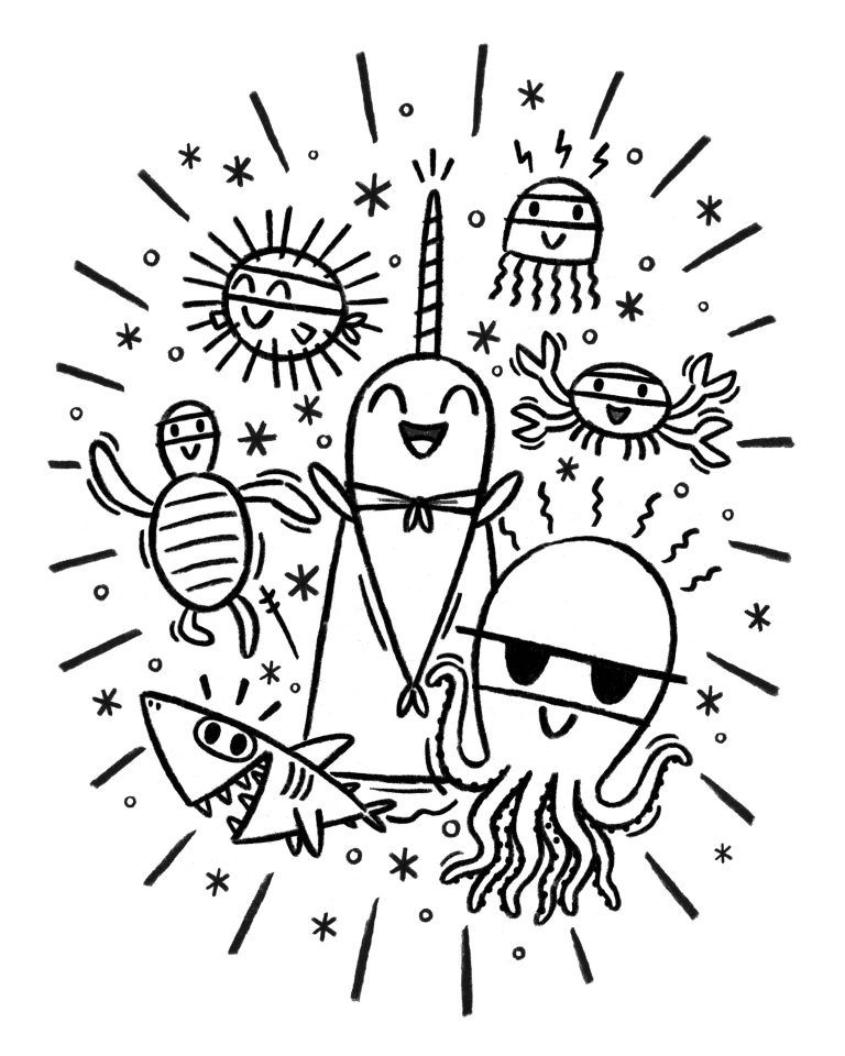 Narwhal And Jelly Coloring Page Coloring Pages Cool Coloring