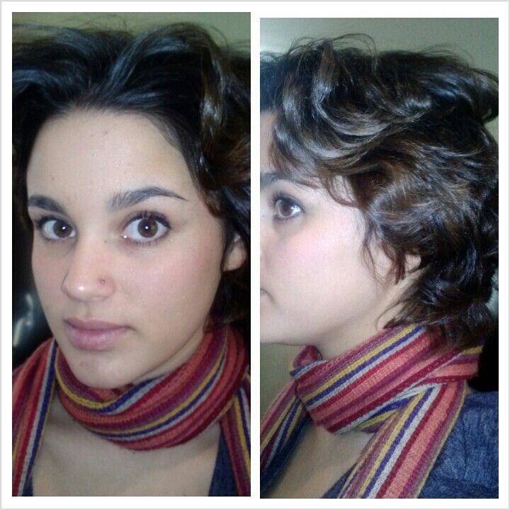My beautiful sister with short hair curled with a straightener 1920's inspired hair!