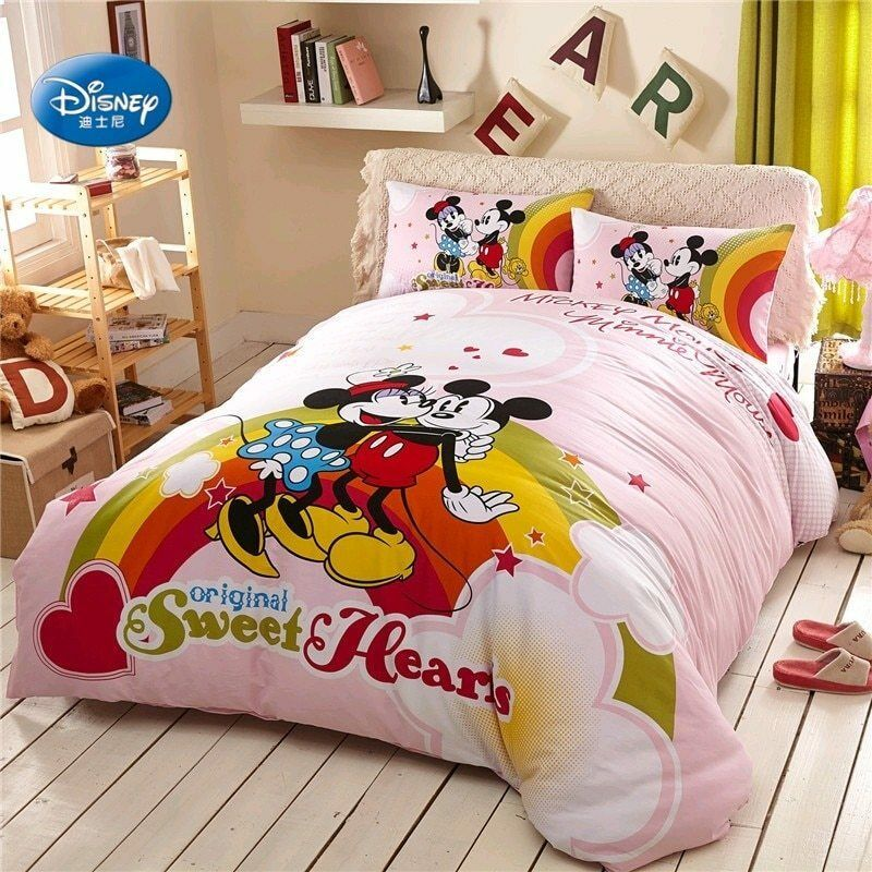 Twin//Full Pink Mickey Mouse Bedding Duvet Cover Pillowcase Sheets Bedroom Cotton