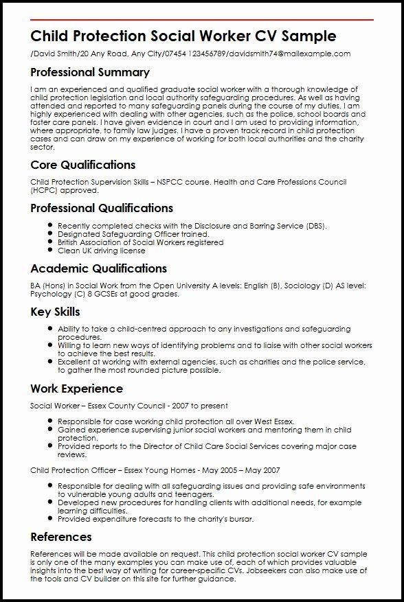 Entry Level Social Work Resume New Child Protection Social Worker Cv Sample Myperfectcv Resume Skills Social Work Work Skills
