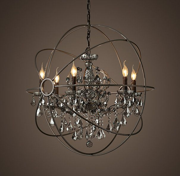 Foucault S Orb Smoke Crystal 32 Chandelier Matte Natural Iron From Restoration Hardware