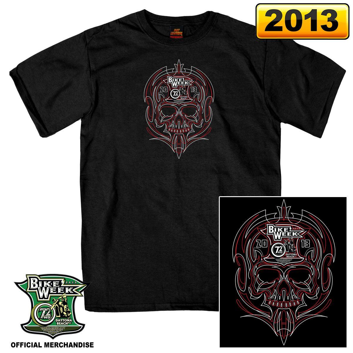 Official 2013 Daytona Beach Bike Week Pinstripe Black T Shirt