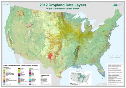 Cropland Map of the Continental US, 2012. | Maps: United States ...