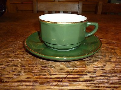 Vintage apilco #green and gold bistroware breakfast cup and #saucer ...