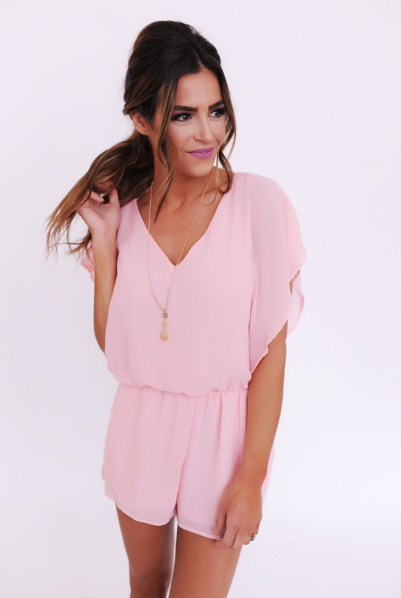 Solid Chiffon Romper- Pink - Dottie Couture Boutique