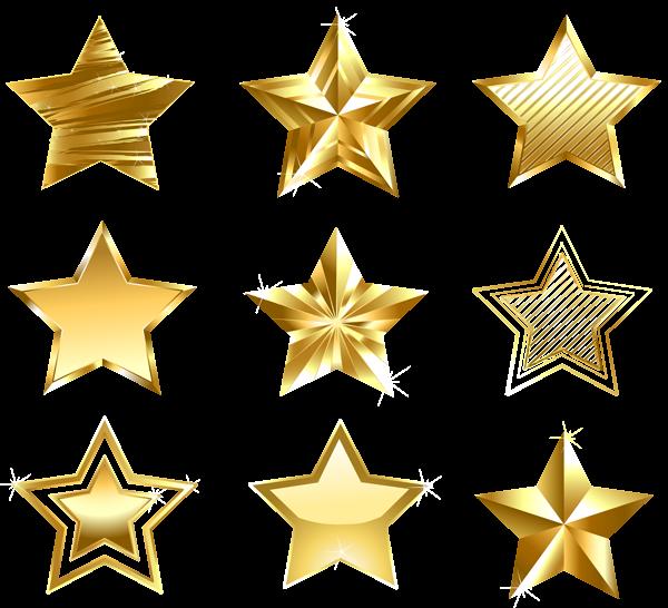 Transparent Golden Stars Set PNG Natal png, Estrelas