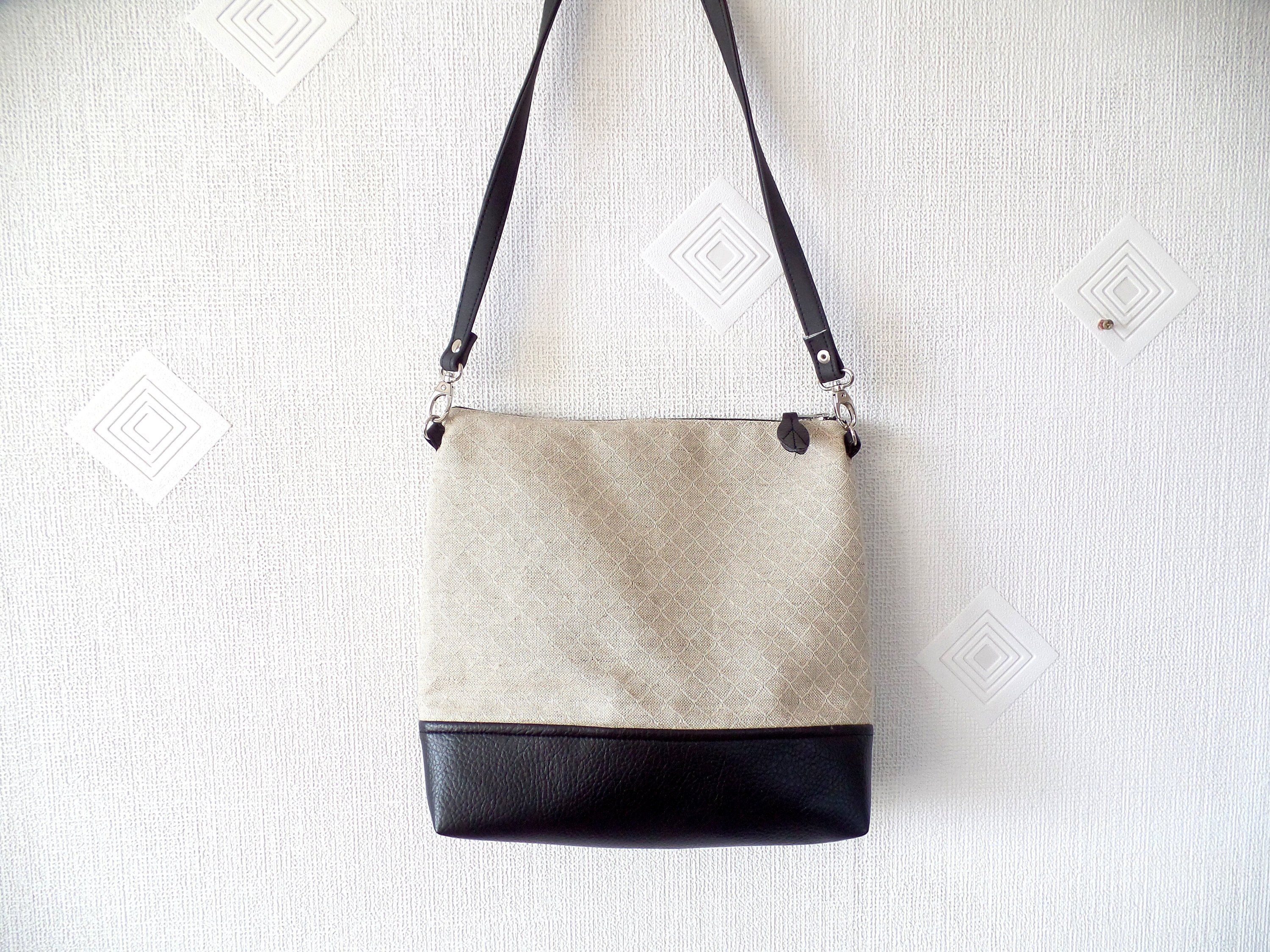 df2fd6f8a876 Vegan leather and linen cross body bag, Geomteric print linen and ...