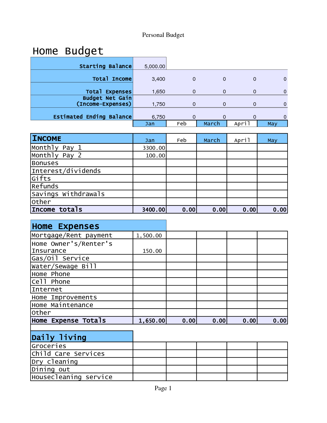 Home Budget Template Example