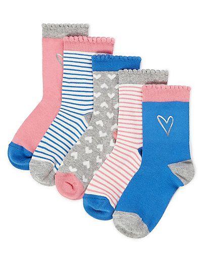M/&S Kids Girls 5 Pairs of Freshfeet™ Novelty Socks NEW!!
