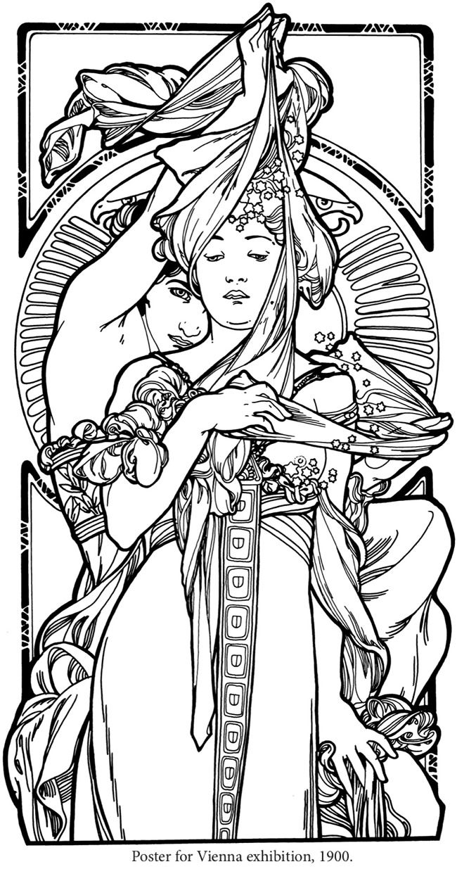 creative haven art nouveau designs coloring book by alphonse