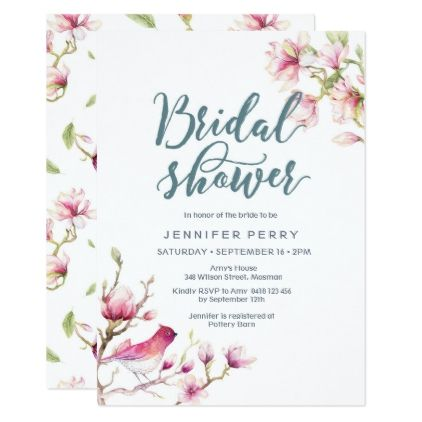 Pink Magnolia Floral Bridal Shower Invitation Zazzlecom Floral