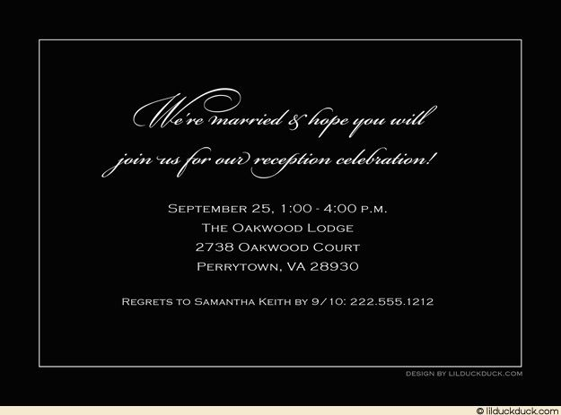 Reception Invitations | Reception Invitation Wording (Inside Or