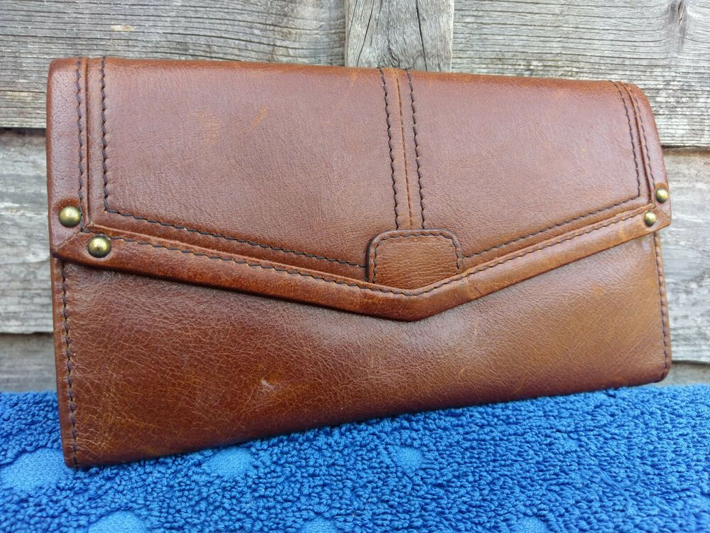 Marks Spencer Vintage Womens Leather Purse Money Notes Credit