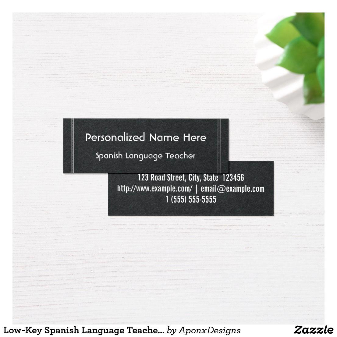 Low Key Spanish Language Teacher Business Card Zazzle Com With