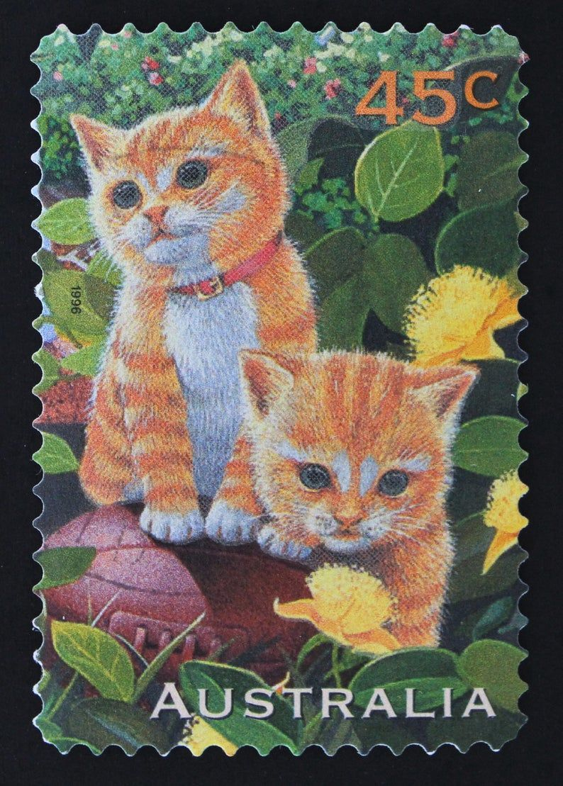Ginger Kittens Postage Stamp Set // Australia 1996 Used Postage Stamps // Cat // Ephemera // Pet // Postmarked // Scrapbooking // Journaling