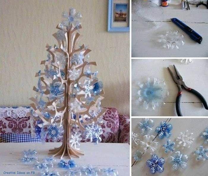 Kreative Ideen - DIY-Schneeflocke Weihnachtsbaum Ornamente von Kunststoff-Flaschen