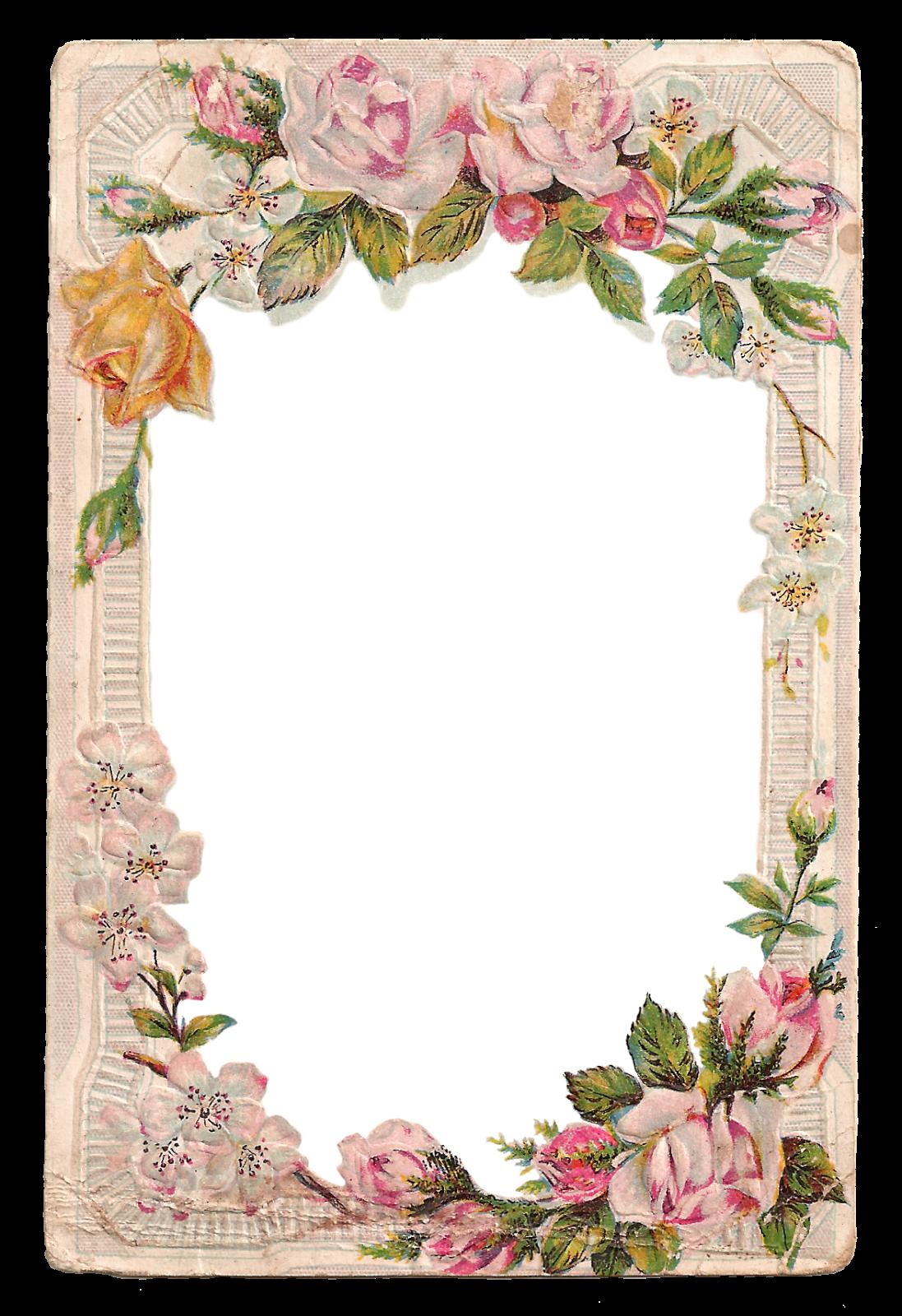 Free Vintage Digital Flower Frame With Roses And Dogwood Jpeg