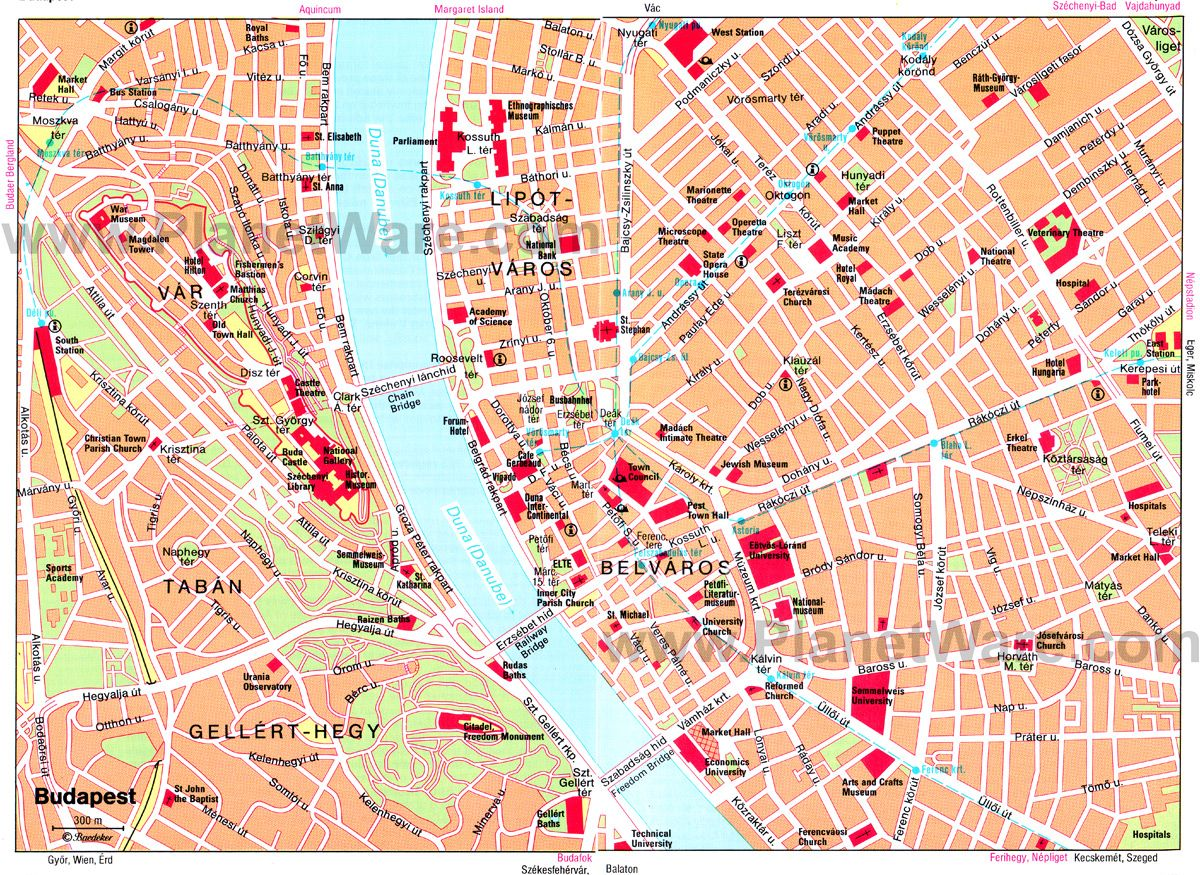 Map Of Main Area Near River Hungary Budapest Pinterest