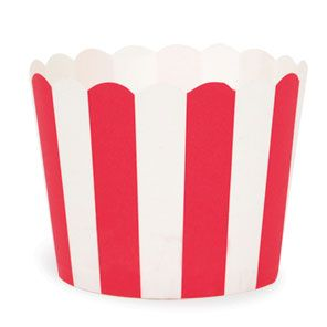 Red Vertical Stripe Cupcake Case