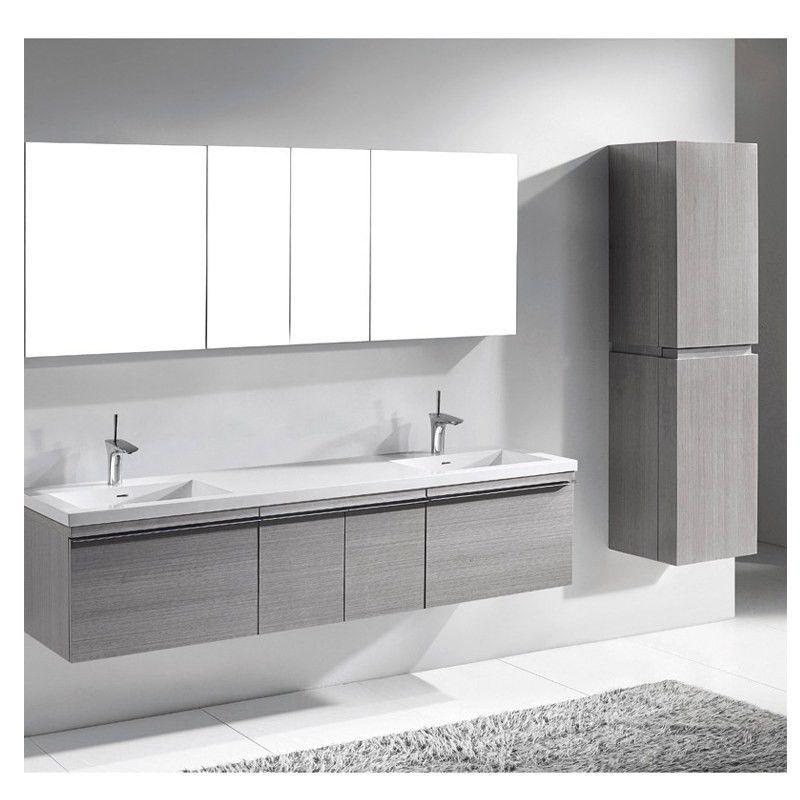 "Dallas Bathroom Vanities: Madeli VENASCA-72D-AG Venasca Ash Grey 72"" Modern Double"