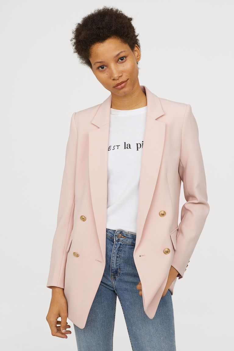 Double Breasted Jacket Light Pink Ladies H M Us Pink Jacket Outfit Pink Blazer Outfits Women Blazer Online
