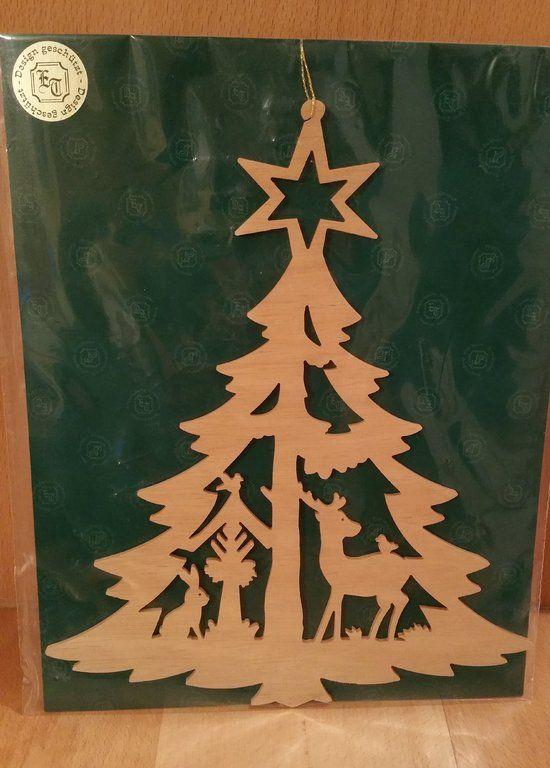 Erzgebirgische Weihnachtsdeko.Fensterbild Waldweihnacht Pletení Drhání Fensterbilder