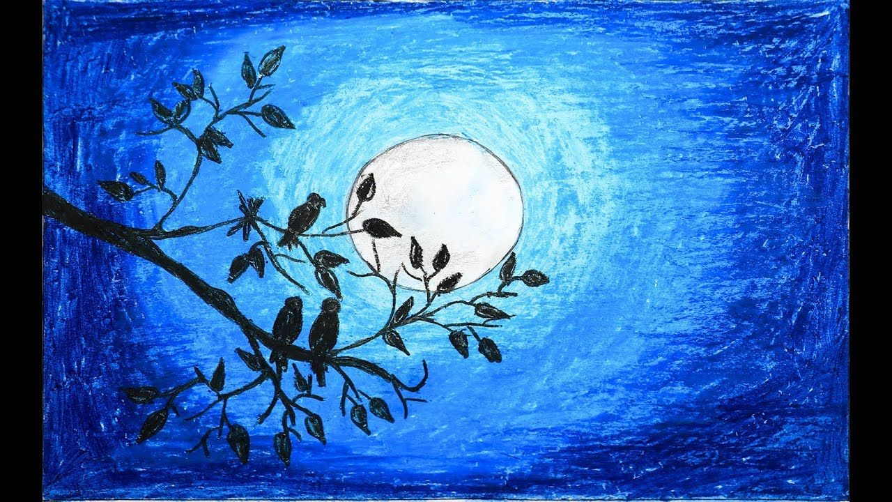 How To Draw Scenery Of Moonlight With Oil Pastel Step By Step Very