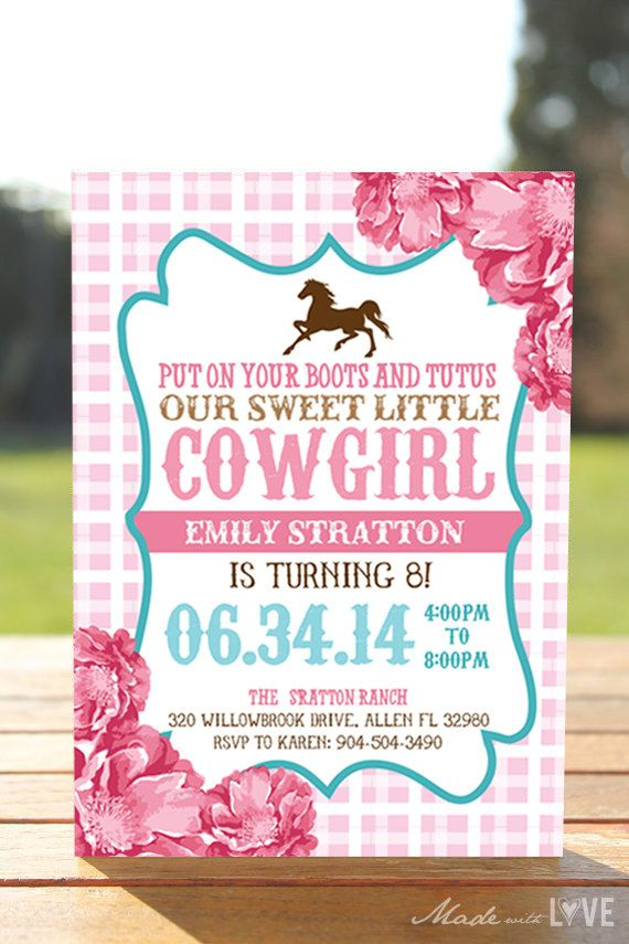 Cowgirl & Horse Birthday Party Invite -Floral and light Pink- DIY ...