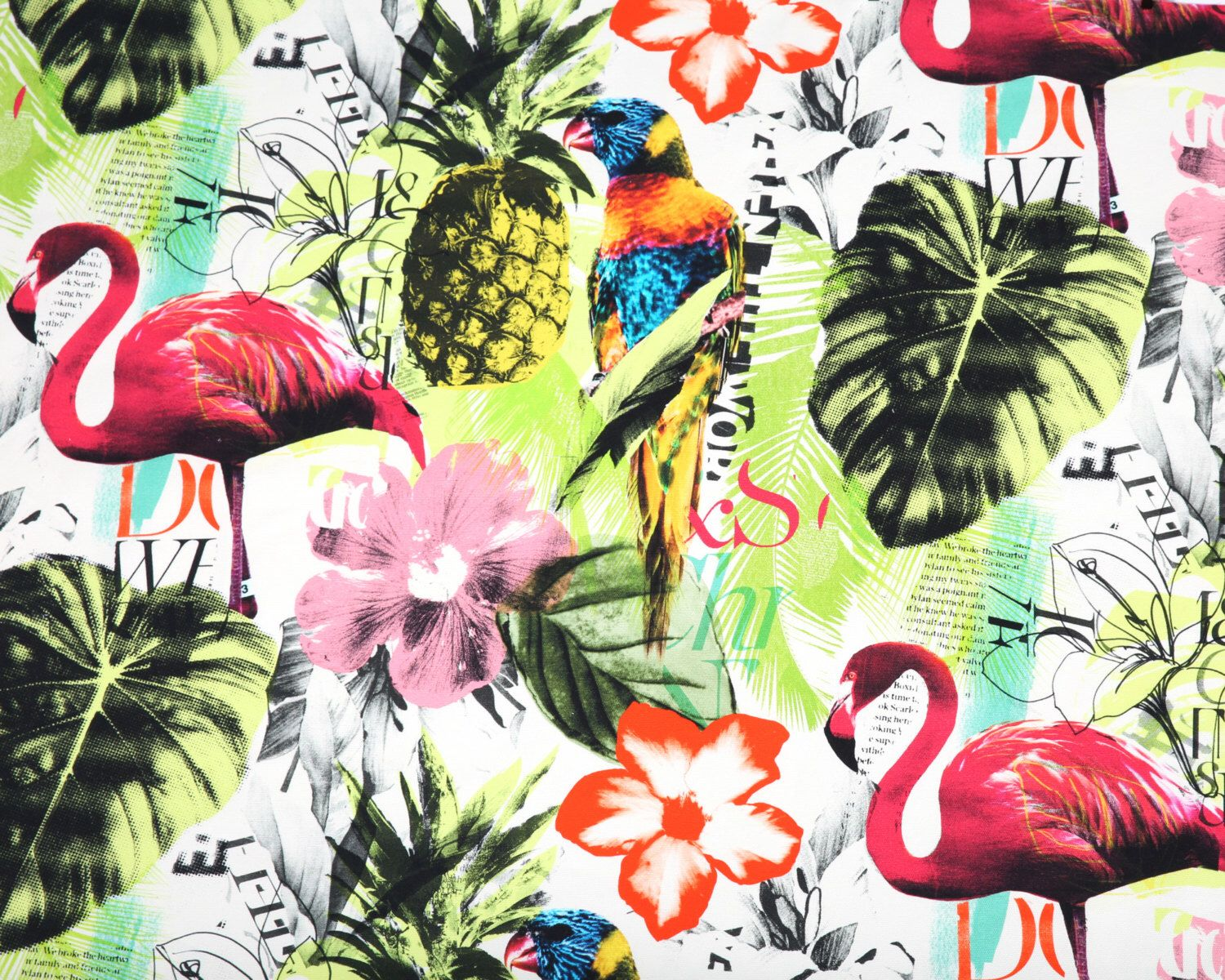 One Yard Braemore Pineapple Flamingo Art Collage Fuchsia Tropical Home  Decor Fabric High Fashion Jamil Upholstery