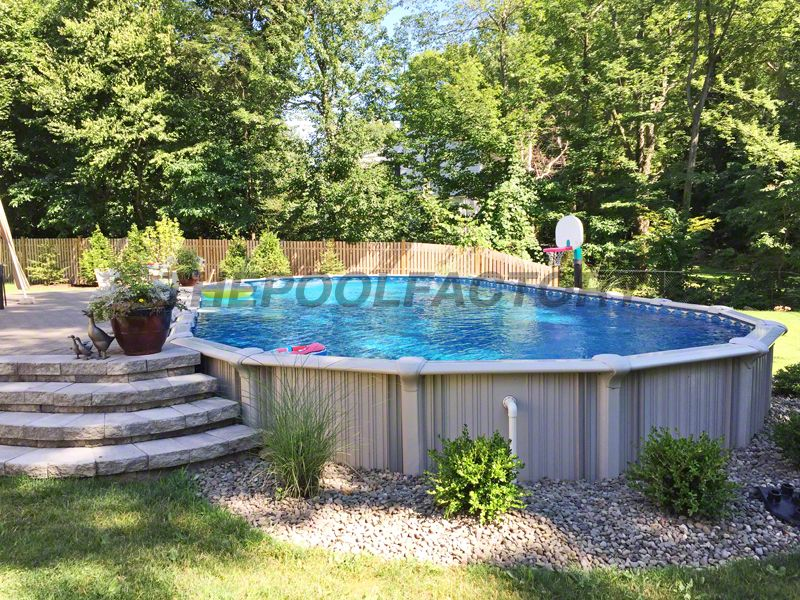 Semi Inground Pool Ideas radiant 14x22 semi inground freeform with pavers The Intrepid Is The Perfect Semi Inground Pool For Any Backyard Thepoolfactory